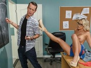 Office Blonde Alexia Rey Being Drilled By Her Boss